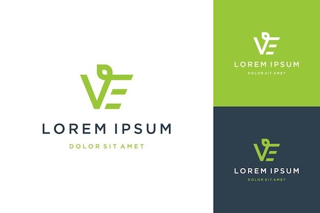 Nowoczesny projekt logo lub monogram lub inicjały litera ve z liśćmi