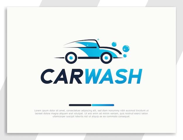 Nowoczesny projekt logo myjni samochodowej z ilustracją pianki bąbelkowej