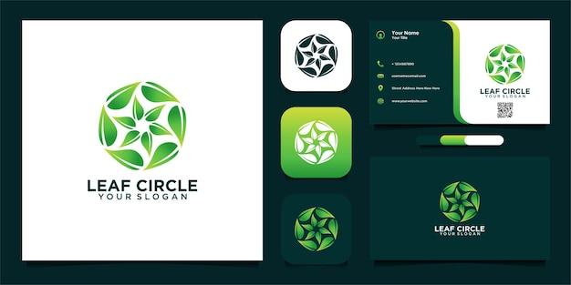 Nowoczesny projekt okrągłego logo liścia i wizytówki