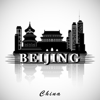 Nowoczesny projekt panoramy miasta pekin. ilustracji wektorowych.