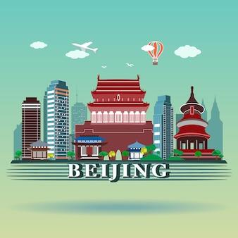 Nowoczesny projekt panoramy miasta pekin.