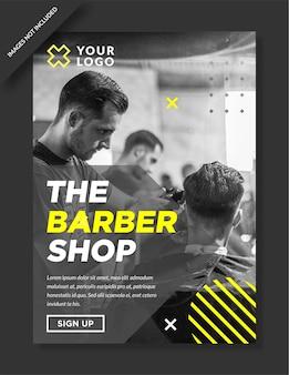 Nowoczesny projekt plakatu i ulotki dla zakładów fryzjerskich
