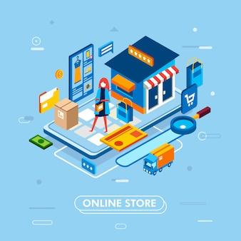 Nowoczesny projekt płaski izometryczny procesu zakupów online ze smartfona, z kartą, ciężarówką, produktem
