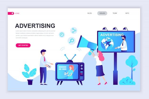 Nowoczesny projekt płaski szablon strony internetowej reklamy