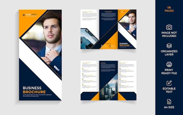 Nowoczesny projekt szablonu broszury biznesowej trójdzielnej firmy