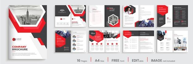 Nowoczesny projekt szablonu broszury firmy z kształtami w kolorze czerwonym