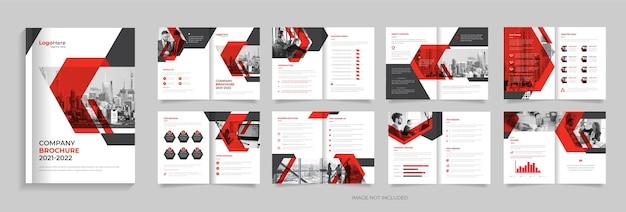 Nowoczesny projekt szablonu broszury korporacyjnej z kreatywnymi kształtami wektor premium