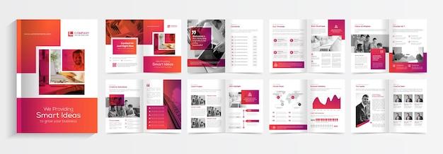 Nowoczesny projekt szablonu broszury z czerwonymi kształtami gradientu wielostronicowy projekt broszury biznesowej