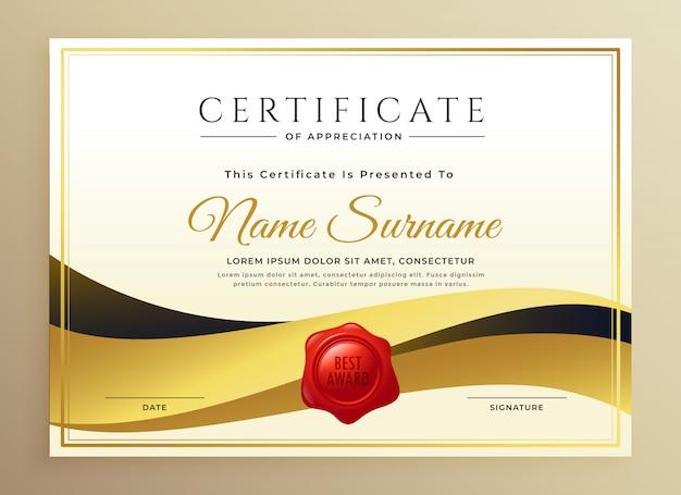 Nowoczesny projekt szablonu certyfikatu premium