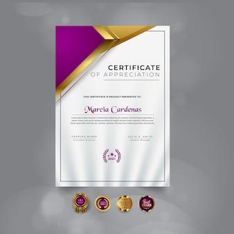 Nowoczesny projekt szablonu certyfikatu