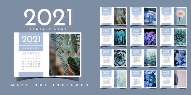 Nowoczesny projekt szablonu ilustracji kalendarza 2021