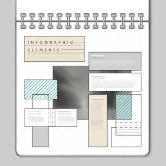 Nowoczesny projekt szablonu infografiki w stylu notebooka