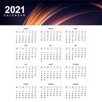 Nowoczesny projekt szablonu kalendarza 2021