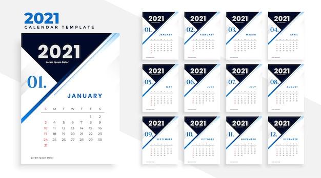 Nowoczesny projekt szablonu kalendarza biznesowego 2021