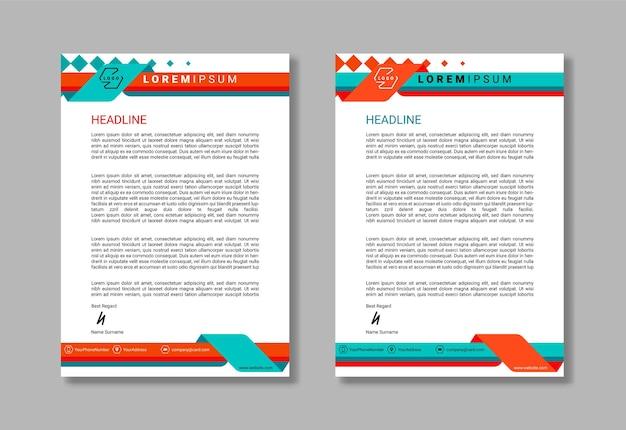 Nowoczesny projekt szablonu papieru firmowego dla biznesu