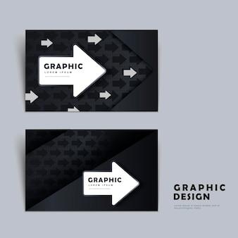 Nowoczesny projekt szablonu wizytówki z elementem strzałki w czerni i bieli