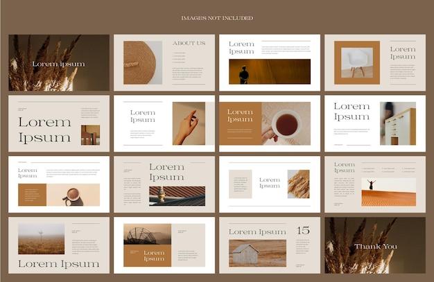 Nowoczesny projekt układu prezentacji w kolorze brązowym