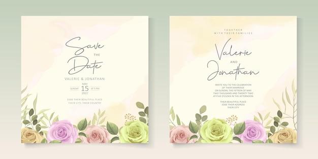 Nowoczesny projekt zaproszenia ślubne z kolorowym kwitnącym kwiatem
