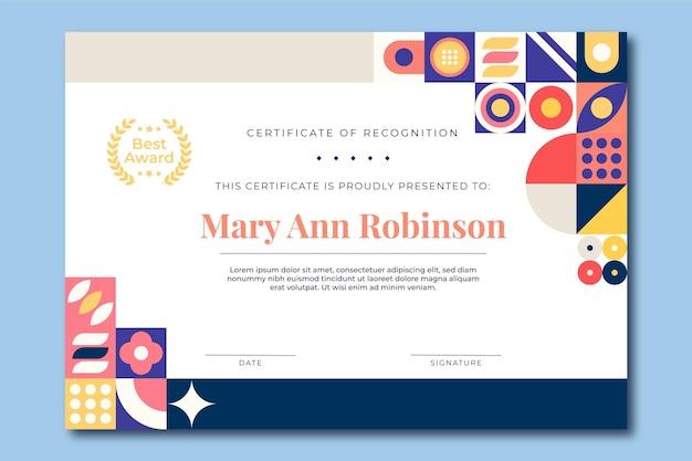 Nowoczesny prosty certyfikat nagrody dla najlepszego menedżera