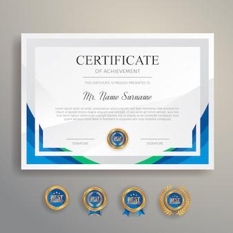 Nowoczesny prosty certyfikat w kolorze niebieskim i zielonym ze złotą odznaką i szablonem granicy