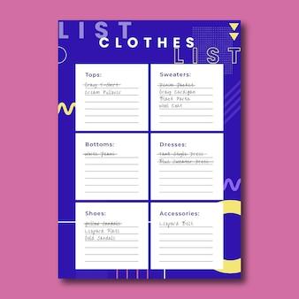 Nowoczesny prosty szablon listy zakupów odzieży