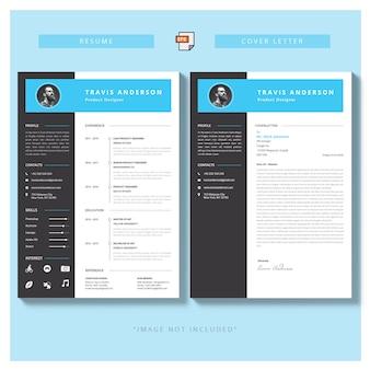 Nowoczesny prosty szablon programu nauczania i listu motywacyjnego