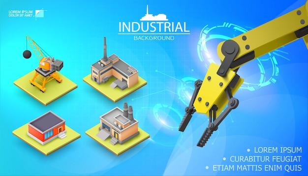 Nowoczesny przemysłowy szablon światła z realistycznym mechanicznym zautomatyzowanym ramieniem robota i izometrycznym magazynem fabrycznym żurawia budowlanego