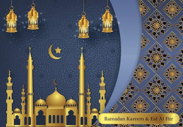 Nowoczesny ramadan kareem i szczęśliwe tło eid mubarak