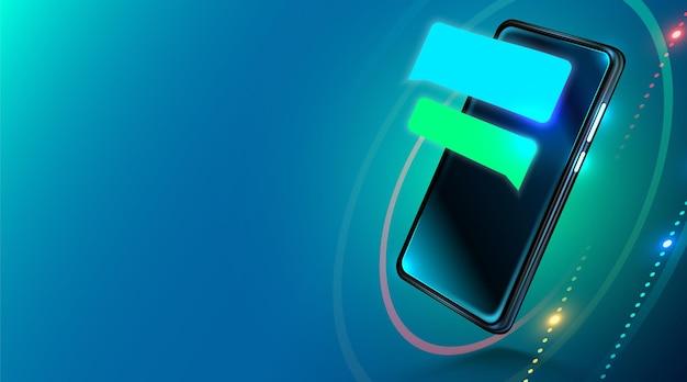 Nowoczesny realistyczny smartfon z pustymi bąbelkami czatu na ekranie. wiadomość lub sms na telefon komórkowy