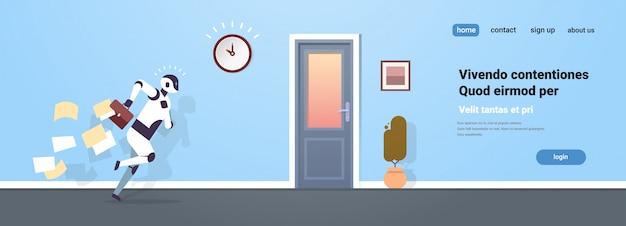 Nowoczesny robot biegający ze spadającymi papierami od teczki do sztucznej inteligencji drzwi wyjściowych