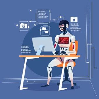 Nowoczesny robot komputerowy haker