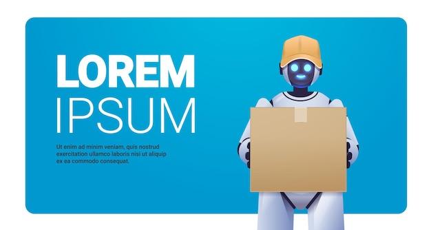 Nowoczesny robot kurierski robot dostarczający trzymający karton usługa dostawy sztucznej inteligencji