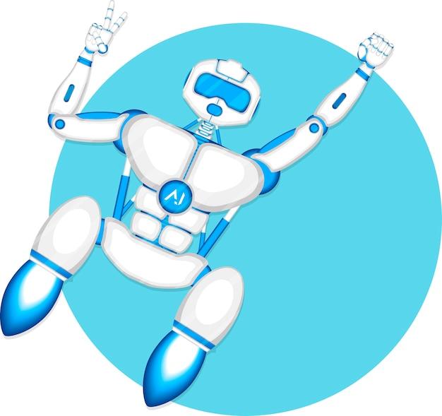 Nowoczesny robot mucha na białym tle na niebieskim tle