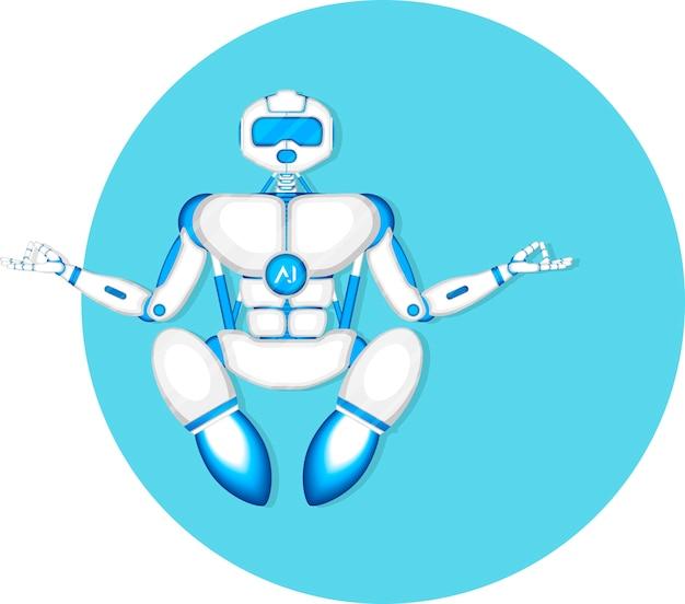 Nowoczesny robot muchowy medytuje w pozycji jogi