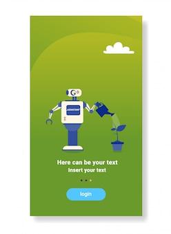 Nowoczesny robot podlewania roślin dom pomocnik bot futurystyczny sztuczna inteligencja mechanizm technologia sprzątania
