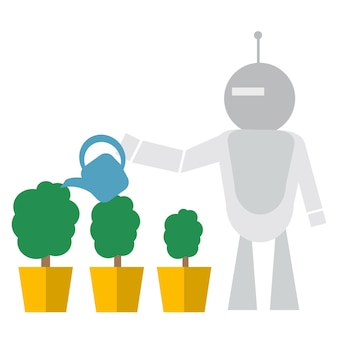 Nowoczesny robot podlewanie kwiatów koncepcja technologii sztucznej inteligencji płaskie wektor ilustracja