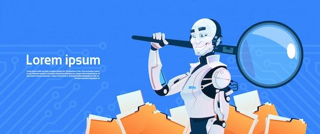 Nowoczesny robot przytrzymaj szkło powiększające koncepcja wyszukiwania danych, futurystyczny mechanizm sztucznej inteligencji