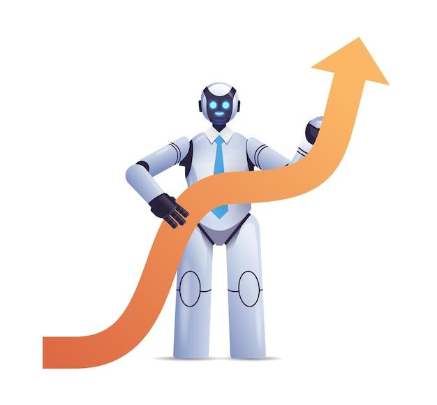 Nowoczesny robot trzymający strzałkę w górę wzrost biznesu sukces sztuczna inteligencja