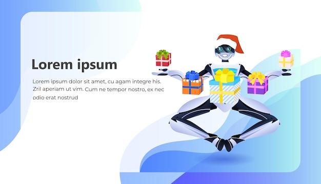 Nowoczesny robot trzymający zapakowane pudełka na prezenty koncepcja sztucznej inteligencji z okazji urodzin lub wakacji