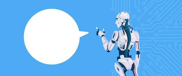 Nowoczesny robot z bąbelkiem na czacie, technologia mechanizmu futurystycznej sztucznej inteligencji