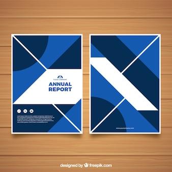 Nowoczesny roczny raport pokrywa szablon z geometrycznych kształtów
