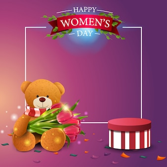 Nowoczesny różowy pocztówka pozdrowienia szablon do dnia kobiet