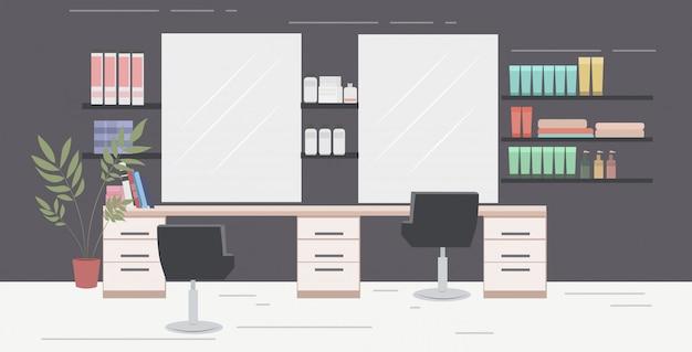 Nowoczesny salon fryzjerski z krzesłami lustra i meble salon piękności wnętrze poziome