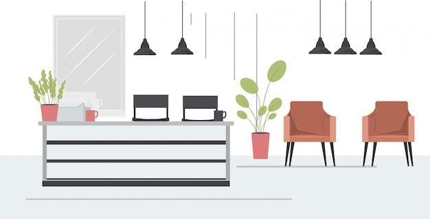 Nowoczesny salon fryzjerski z krzesłami lustro i recepcja salon kosmetyczny wnętrze poziome