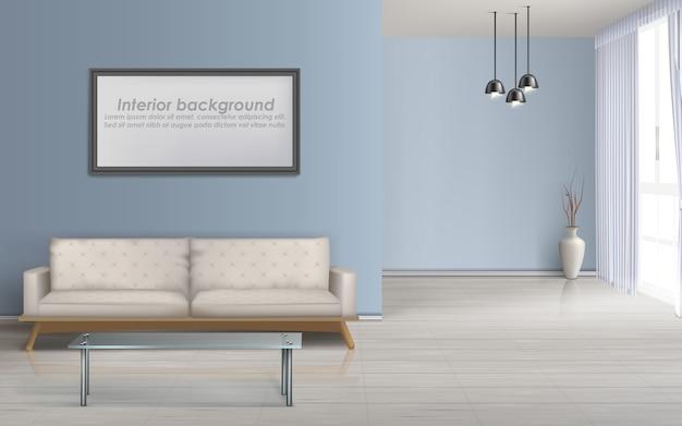 Nowoczesny salon minimalistyczny design przestronne wnętrze realistyczne wektor makieta z podłogą laminowaną