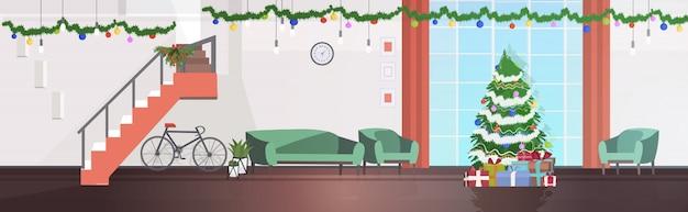 Nowoczesny salon z jodłą udekorowany na święta bożego narodzenia