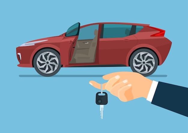 Nowoczesny samochód z otwartymi drzwiami kierowcy podczas zakupu lub leasingu. ręka trzymająca kluczyk. płaska ilustracja.