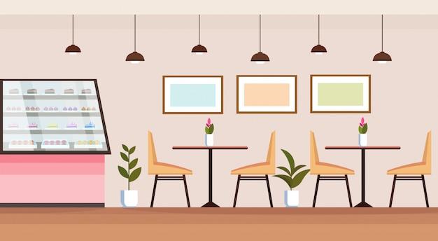 Nowoczesny sklep z kawą pusty bez ludzi bufet wnętrze piekarnia sklep z gablotami stoły i krzesła płaskie poziome