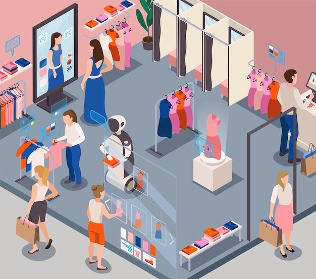 Nowoczesny sklep z modą z robotami usługowymi zapewniającymi osobistą pomoc klienta w ilustracji izometrycznej