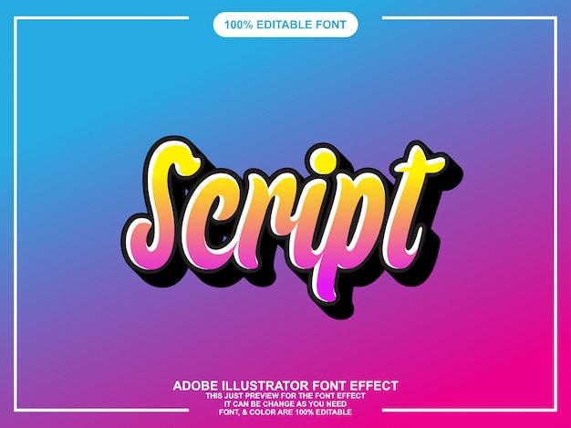 Nowoczesny skrypt edytowalny efekt tekstu w stylu graficznym